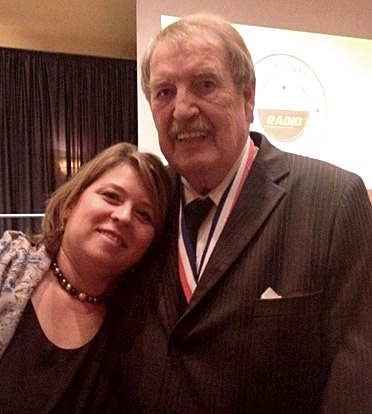 Getting a hug from Hairl at the 2014 Tennessee Radio Broadcasters Hall of Fame Banquet.